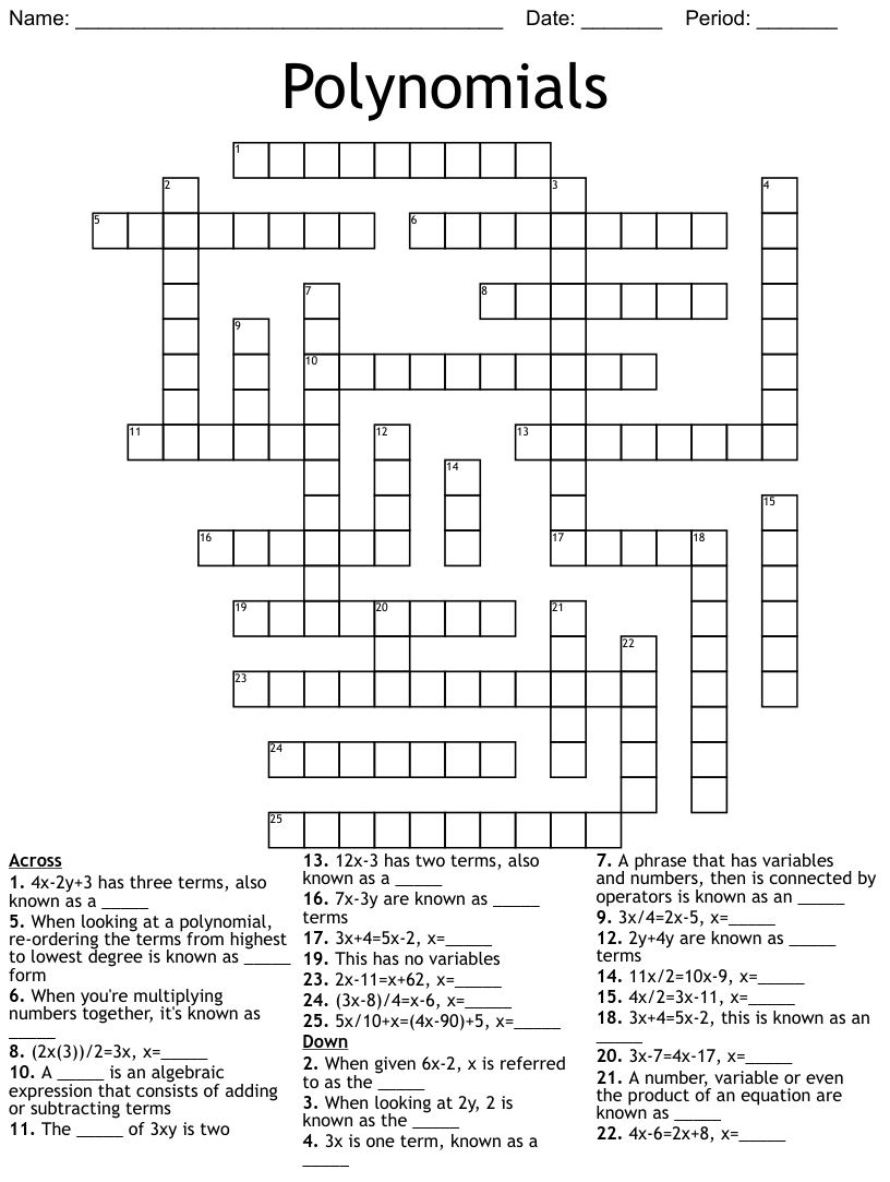 hight resolution of Polynomial crossword puzzle