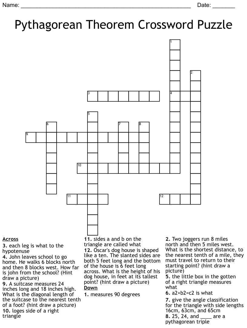 hight resolution of Pythagorean Theorem Crossword - WordMint