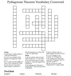 Pythagorean Theorem Vocabulary Crossword - WordMint [ 1181 x 1121 Pixel ]