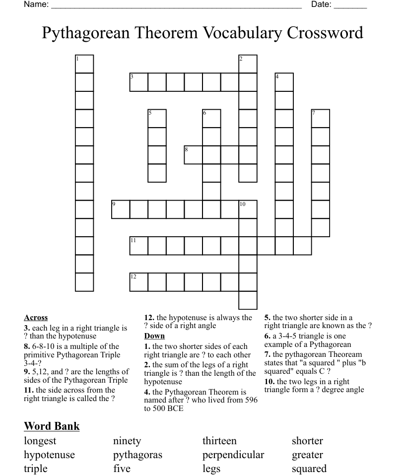 hight resolution of Pythagorean Theorem Vocabulary Crossword - WordMint