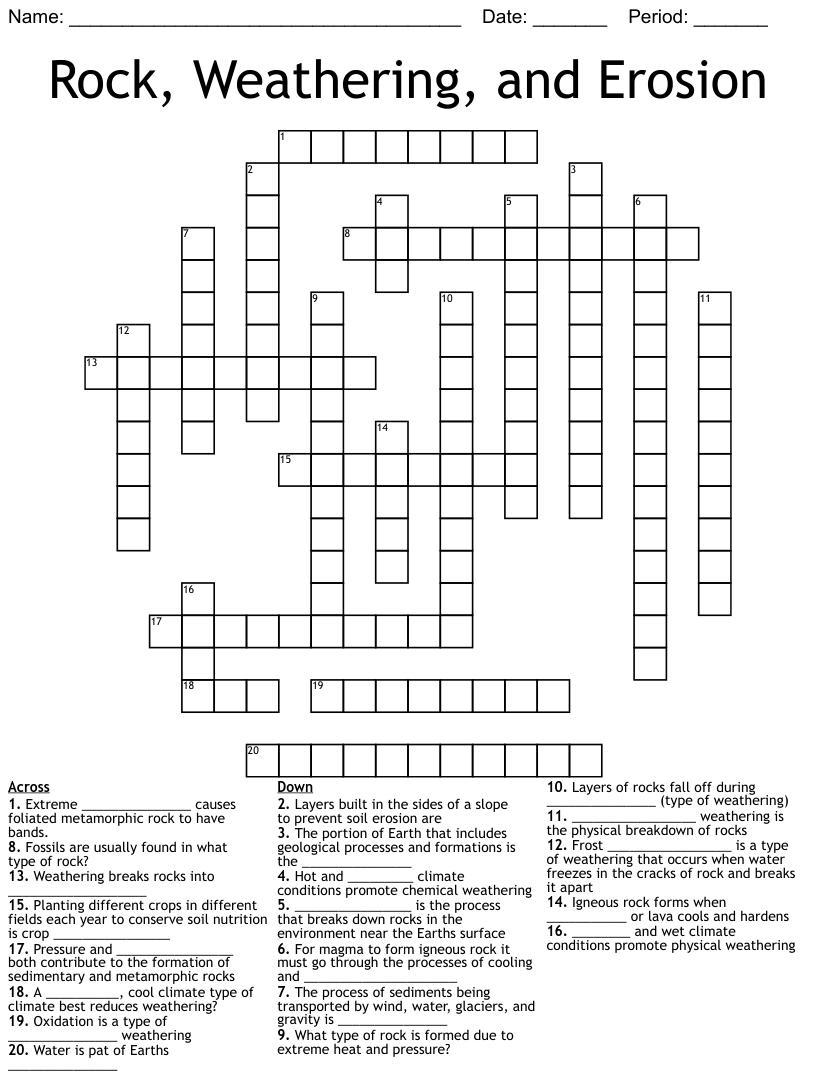 The Rock Cycle & Rocks Crossword - WordMint