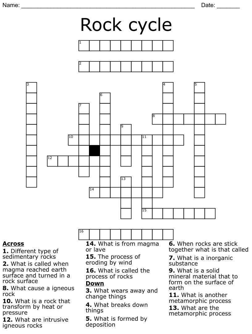 Rock Crossword Puzzle - WordMint