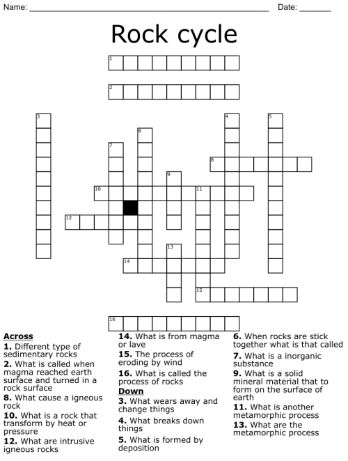 small resolution of Rock Cycle Crossword - WordMint