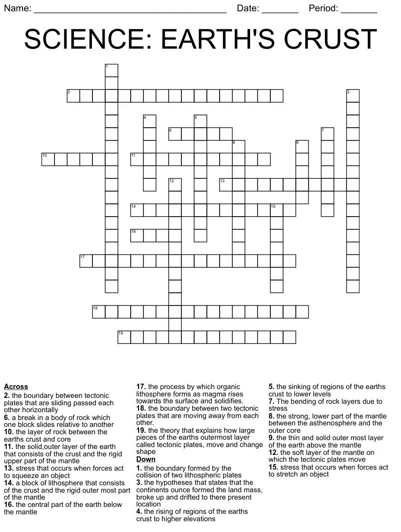continental drift crossword puzzle - WordMint