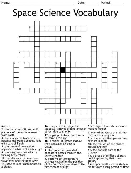 small resolution of Astronomy Crosswords