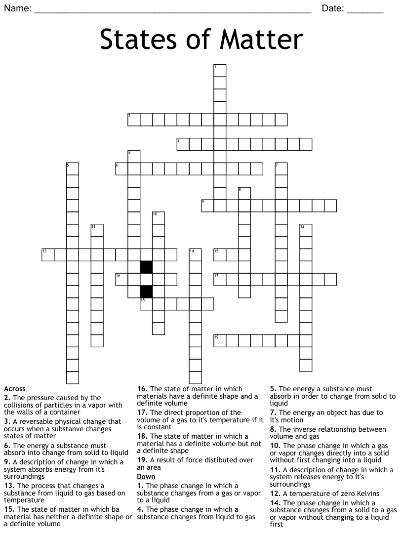 hight resolution of Science Chapter 3 Vocabulary Crossword - WordMint