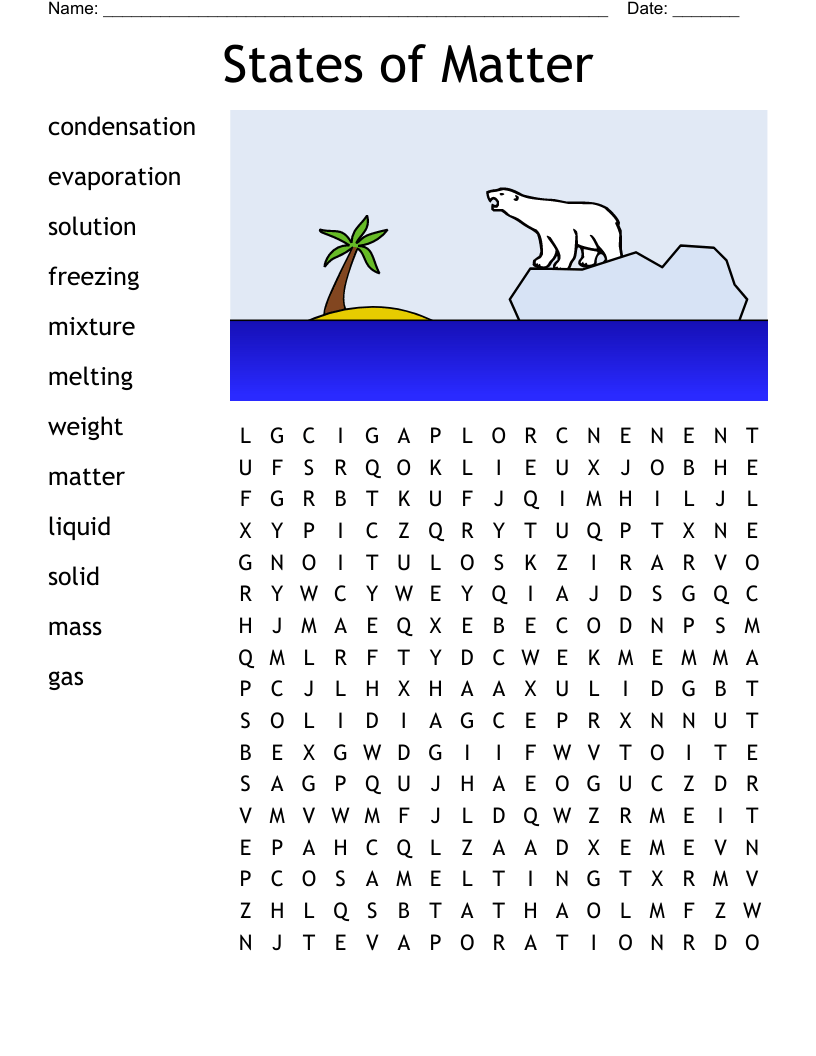 medium resolution of States of Matter Word Search - WordMint