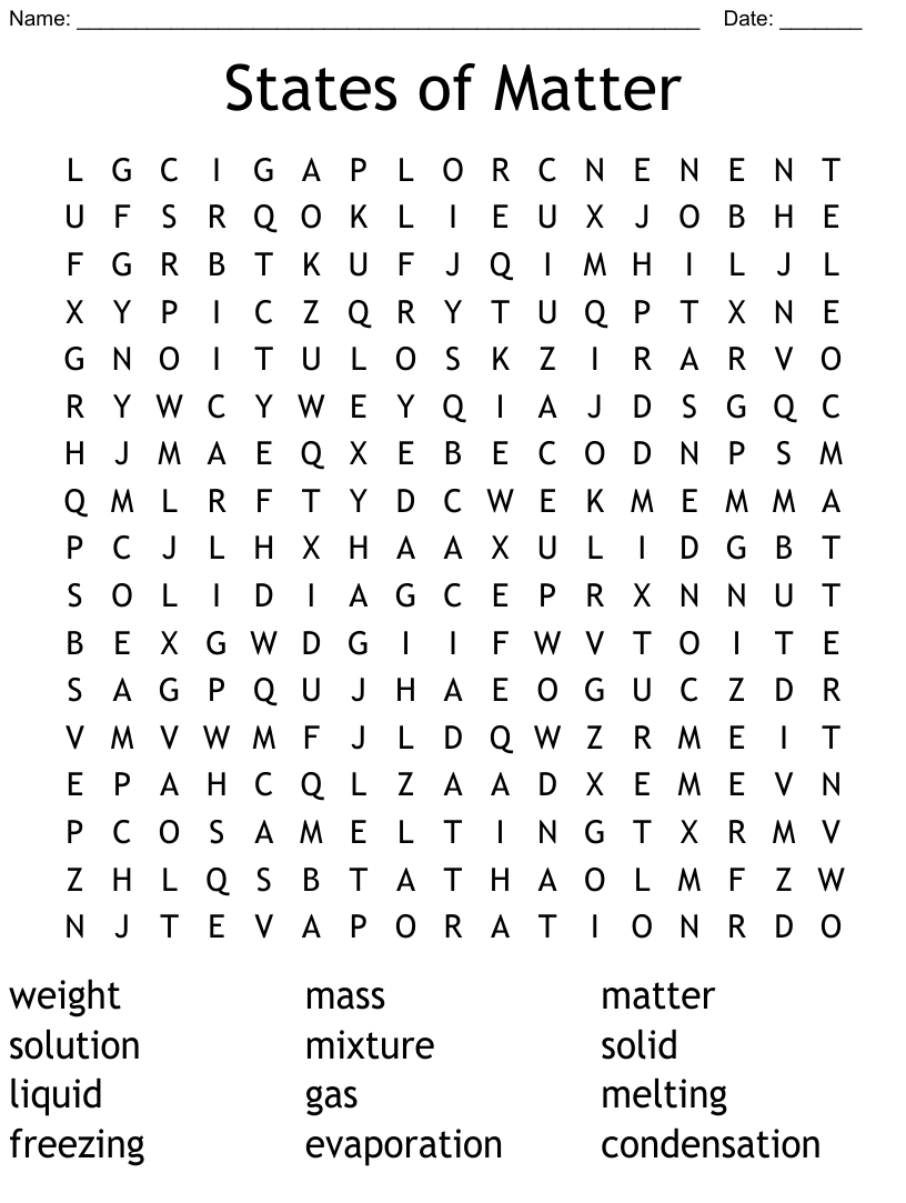 hight resolution of States of Matter Word Search - WordMint