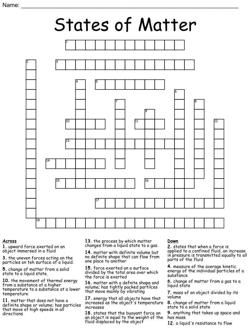 medium resolution of The Nature of Matter and Classification of Matter Crossword - WordMint
