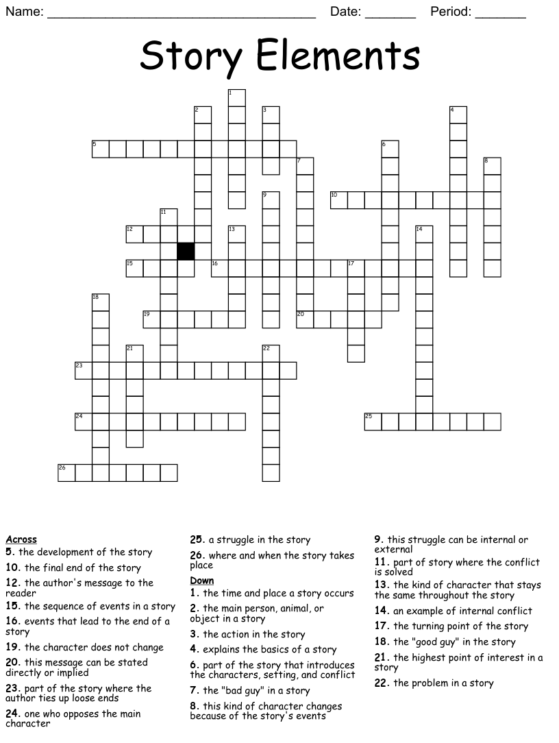 hight resolution of Literary Terms Crossword - WordMint