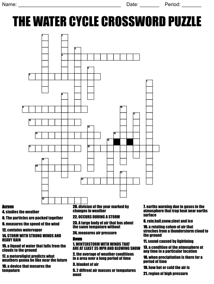hight resolution of THE WATER CYCLE CROSSWORD PUZZLE - WordMint