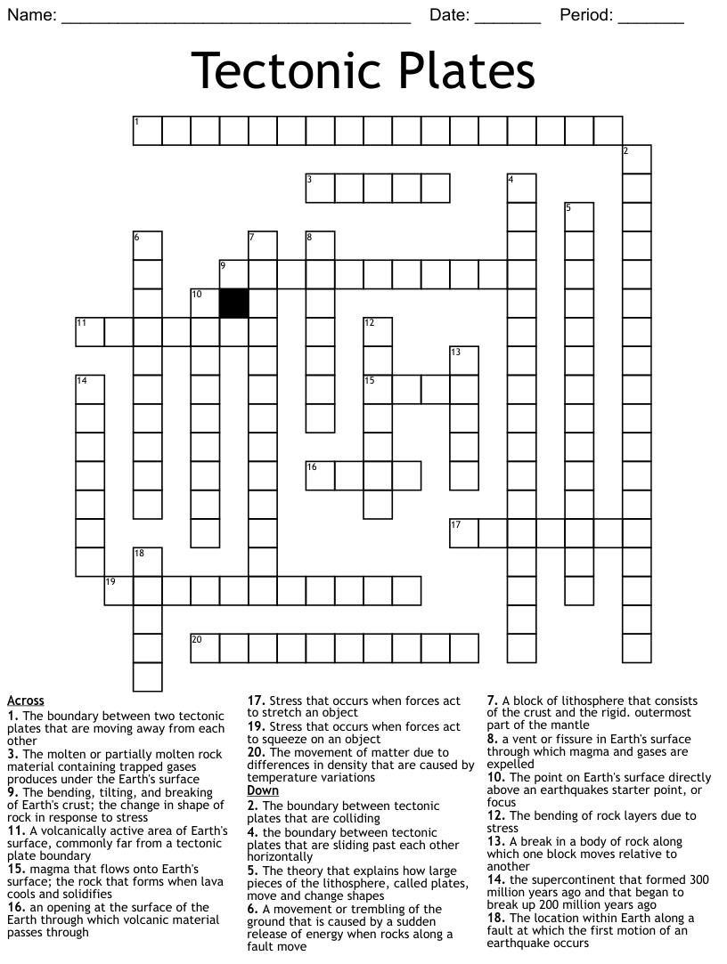 Volcanoes Crossword Puzzle - WordMint