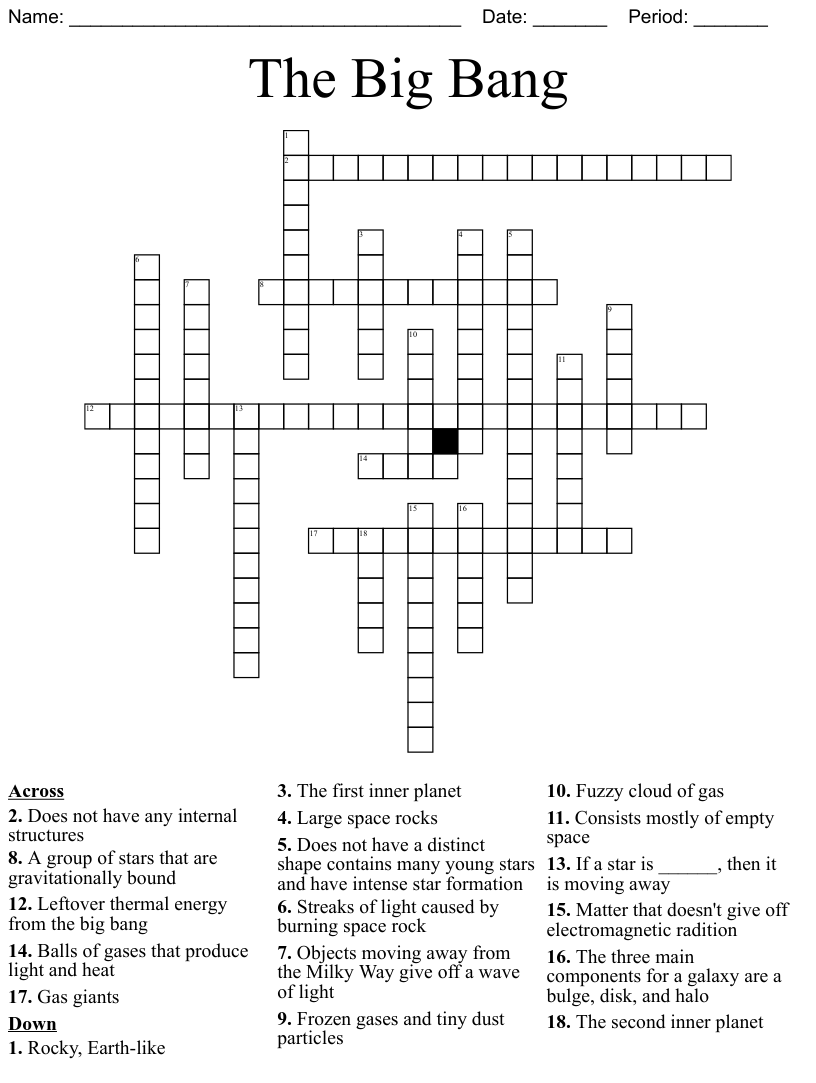medium resolution of Components of The Universe and the Big Bang Theory Crossword - WordMint
