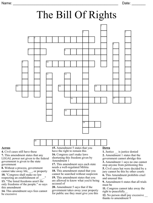 small resolution of Bill of rights crossword puzzle - WordMint