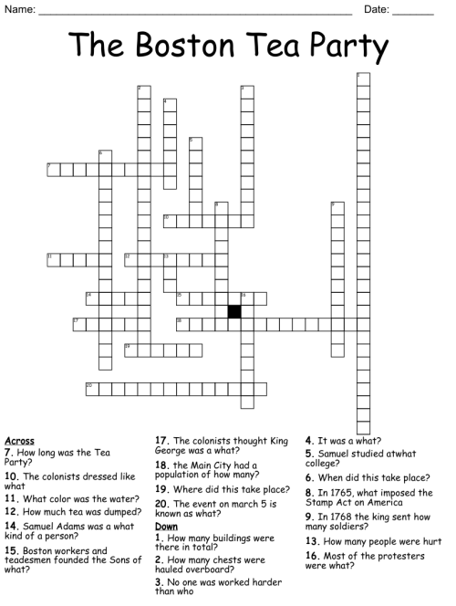 small resolution of The Boston Tea Party Crossword - WordMint