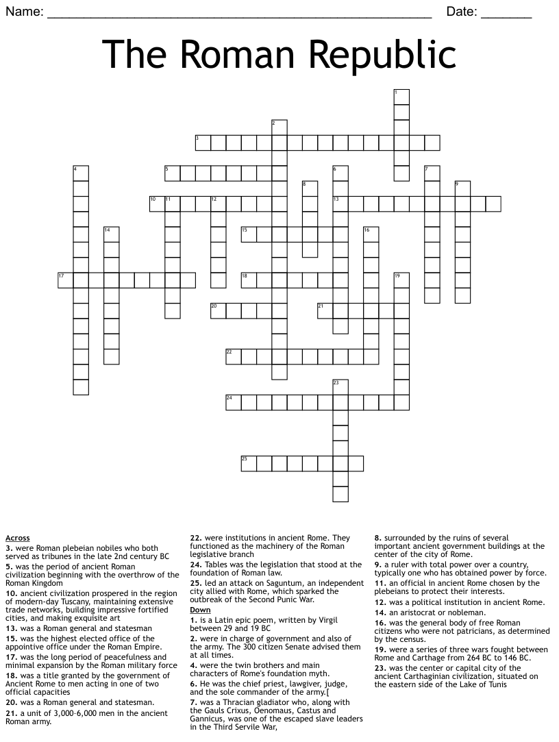 hight resolution of Ancient Rome Crossword Puzzle - WordMint