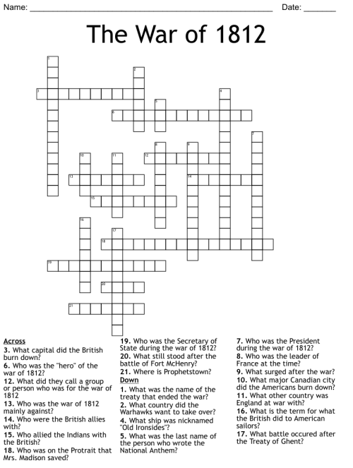 small resolution of The War of 1812 Crossword - WordMint