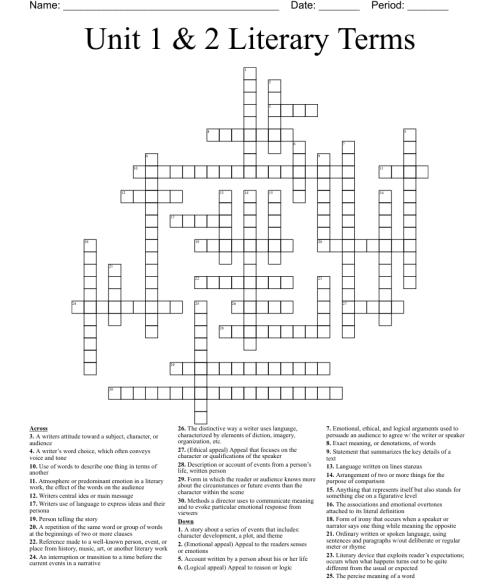 small resolution of 9th Grade Literary Terms Crossword - WordMint