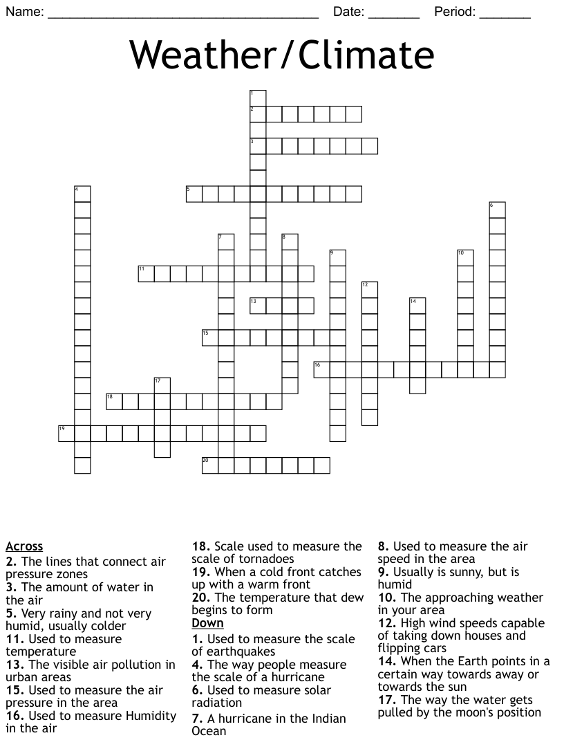 medium resolution of Weather Crosswords