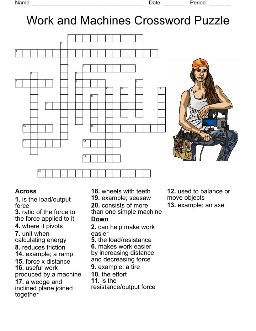 medium resolution of simple machines Crossword - WordMint