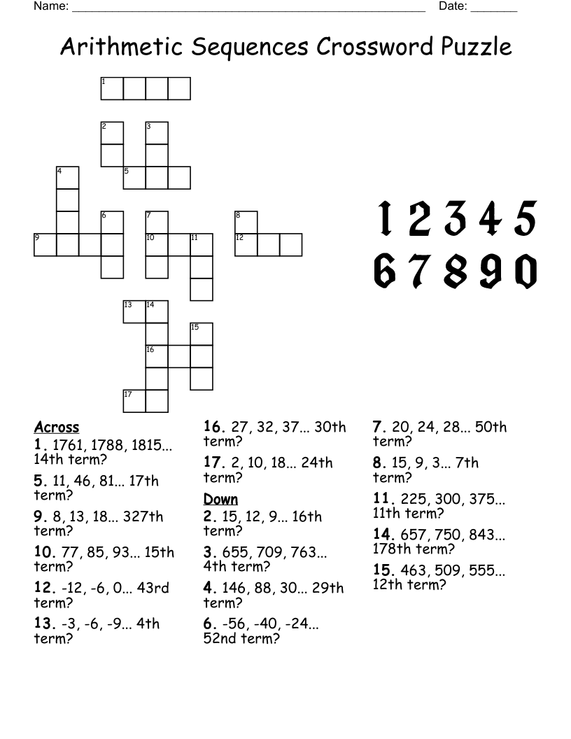 hight resolution of arithmetic sequences crossword puzzle - WordMint