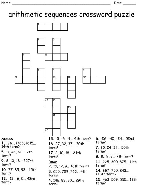 small resolution of arithmetic sequences crossword puzzle - WordMint