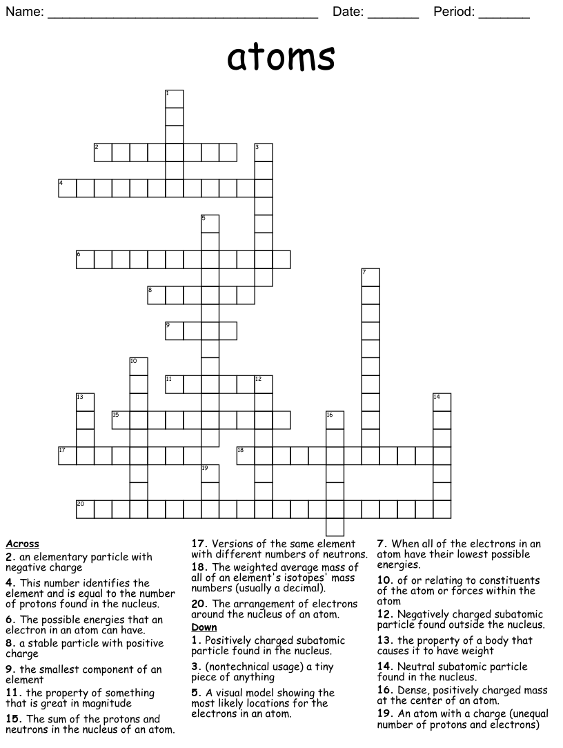hight resolution of Atomic Structure Crossword Puzzle - WordMint