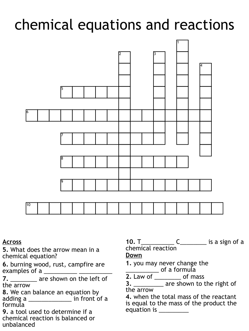 medium resolution of chemical equations and reactions Crossword - WordMint