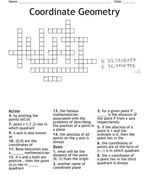 small resolution of coordinate geometry Crossword - WordMint