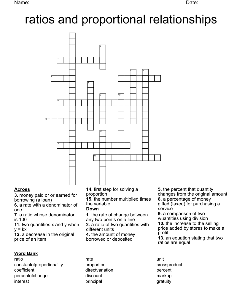 medium resolution of ratios and proportional relationships Crossword - WordMint