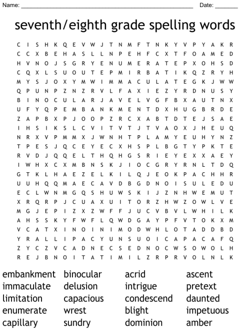 small resolution of seventh/eighth grade spelling words Word Search - WordMint