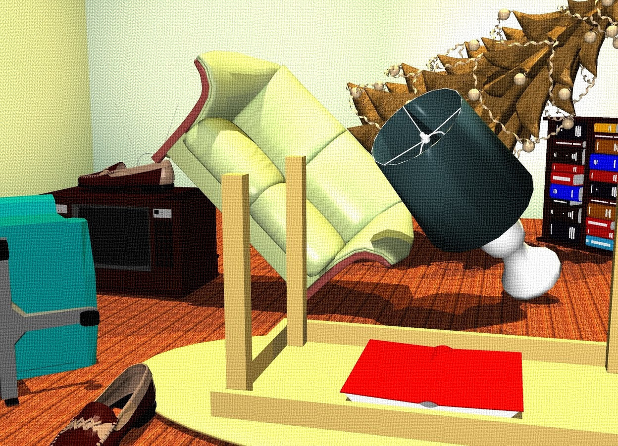 chair upside down on wall go battery time to tidy up by nheiges wordseye