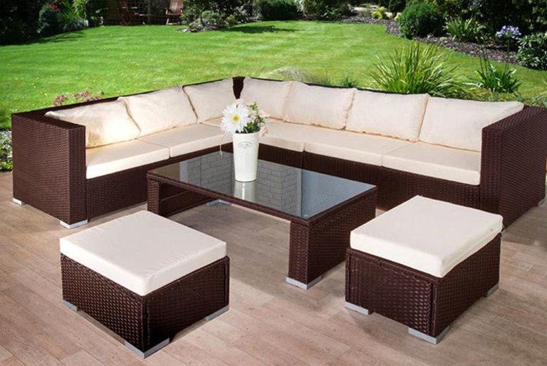 9 seater rattan corner sofa table stool garden furniture set