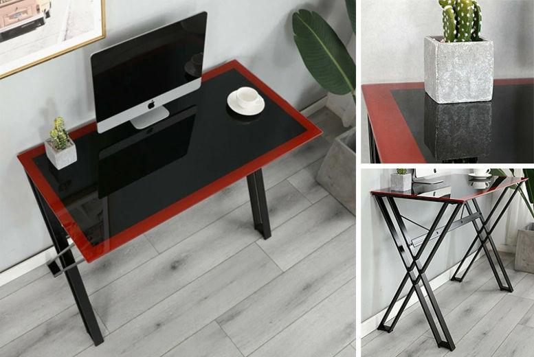 black glass top desk with steel frame