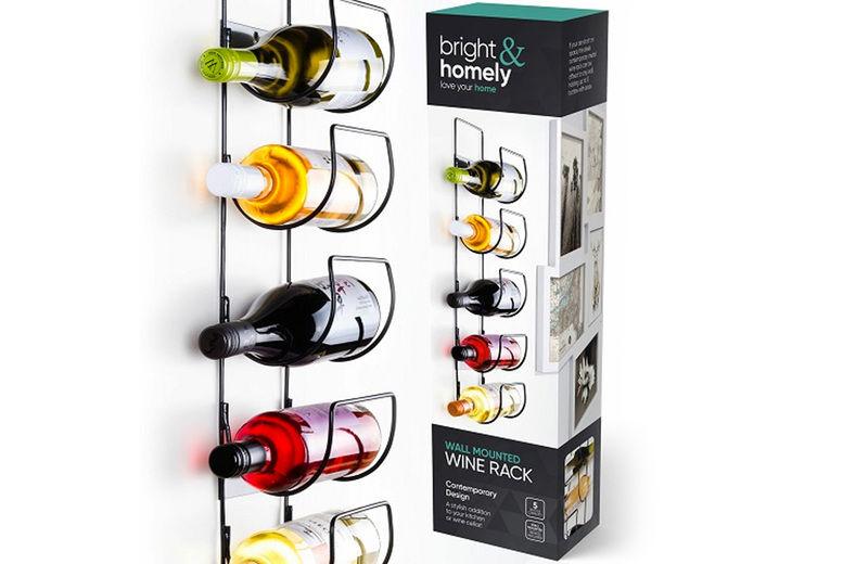 5 bottle metal wine rack wall mounted