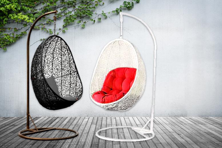 white swing chair uk hanging outdoor nz rattan pod shop wowcher egg