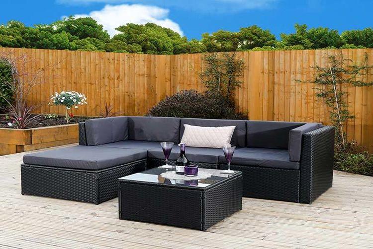 6pc milan modular rattan corner sofa set grey leather reclining shop wowcher a black outside on patio