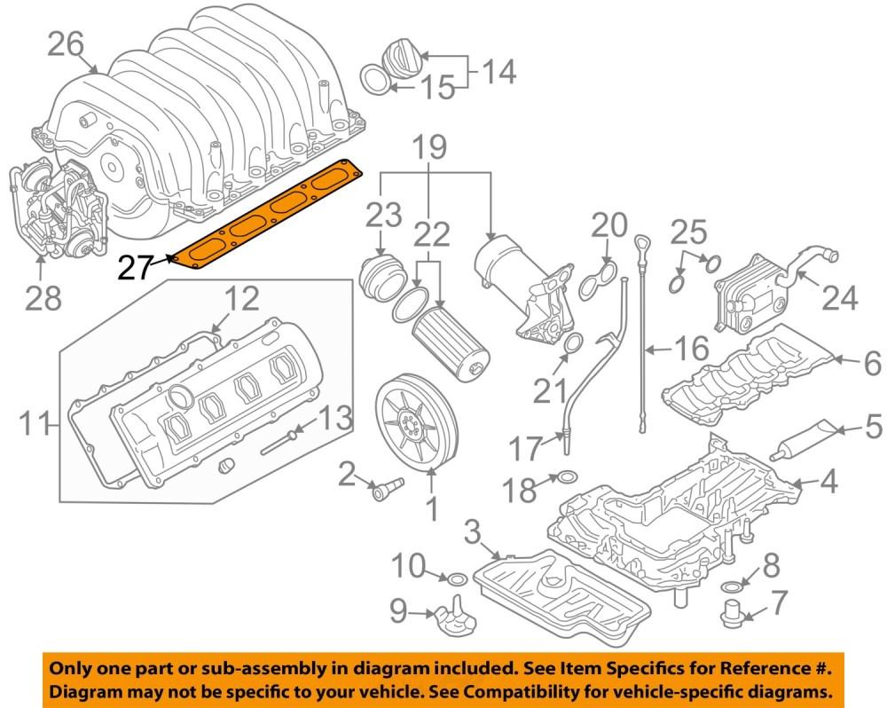 medium resolution of audi oem 00 08 a8 quattro engine intake manifold gasket 077129717q
