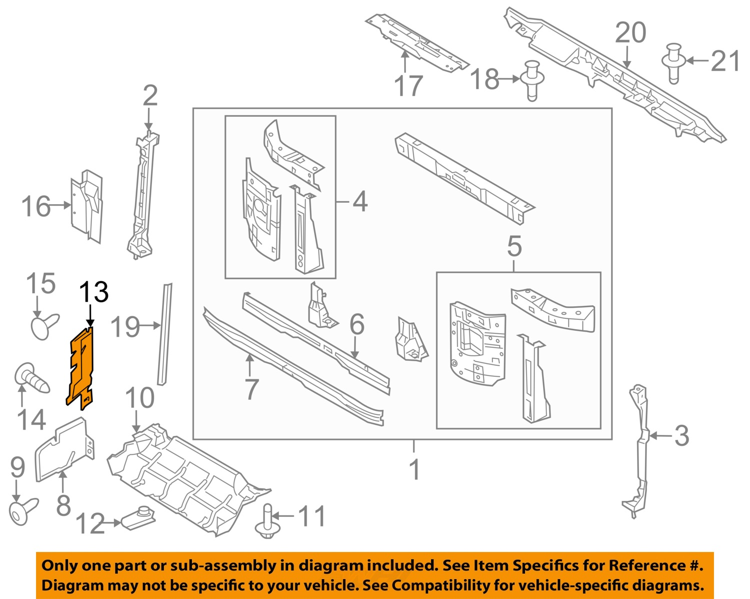 hight resolution of ford oem 08 14 e 350 super duty radiator support side baffle right ac2z8310a