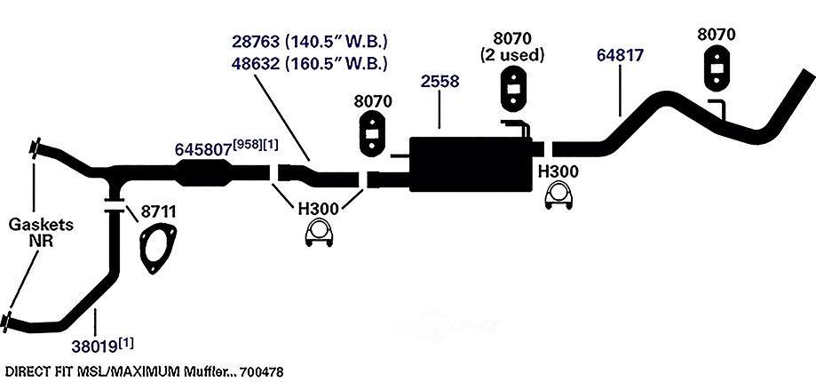Exhaust Pipe Rear AP Exhaust 48632 fits 03-09 Dodge Ram