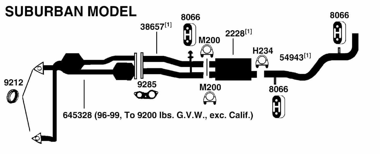 GMC SUBURBAN C1500 Exhaust Diagram from Best Value Auto Parts