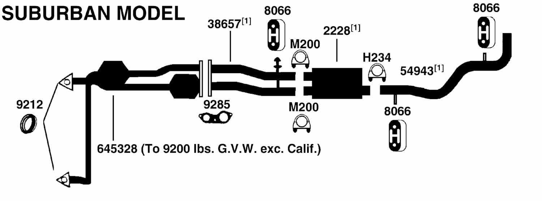 GMC SUBURBAN C2500 Exhaust Diagram from Best Value Auto Parts