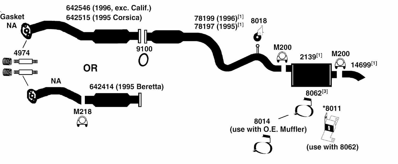 CHEVROLET BERETTA Exhaust Diagram from Best Value Auto Parts