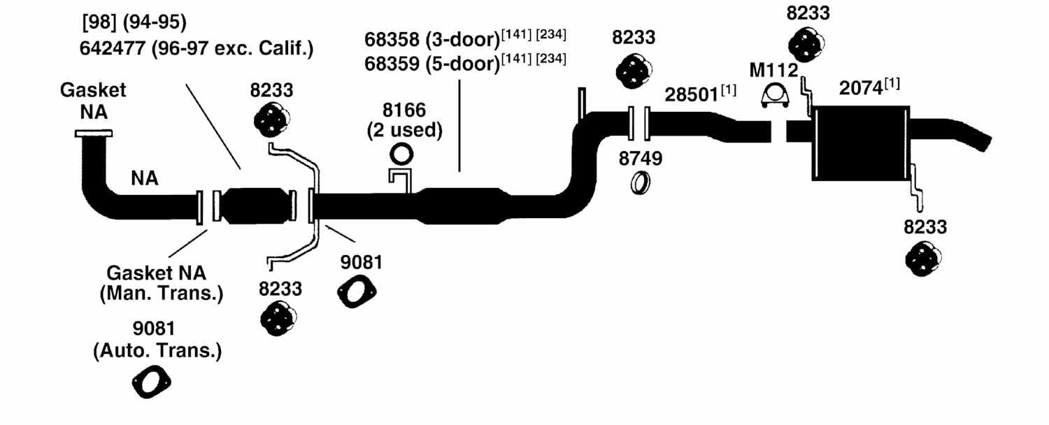 FORD ASPIRE Exhaust Diagram from Best Value Auto Parts