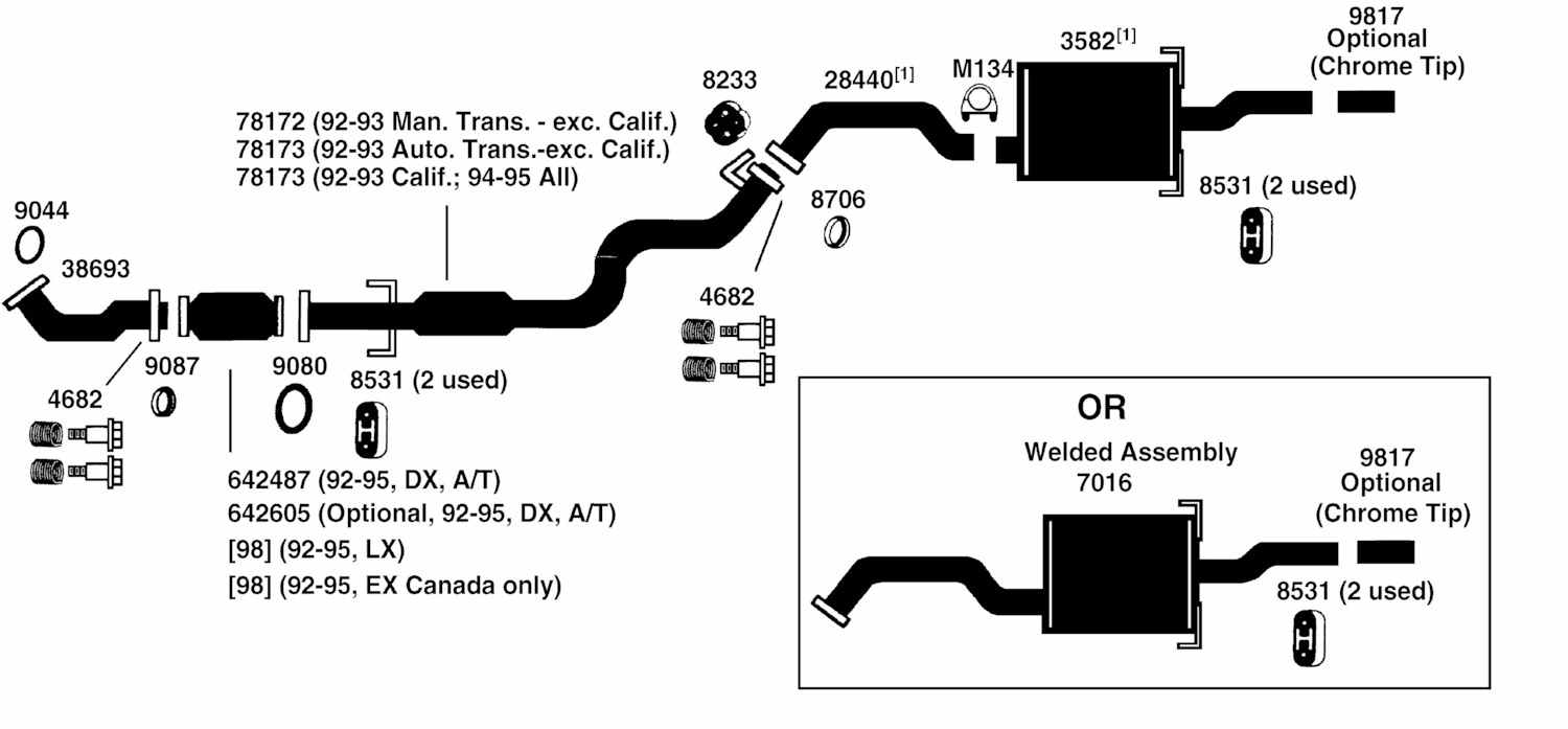 hight resolution of 2006 honda civic exhaust system diagram