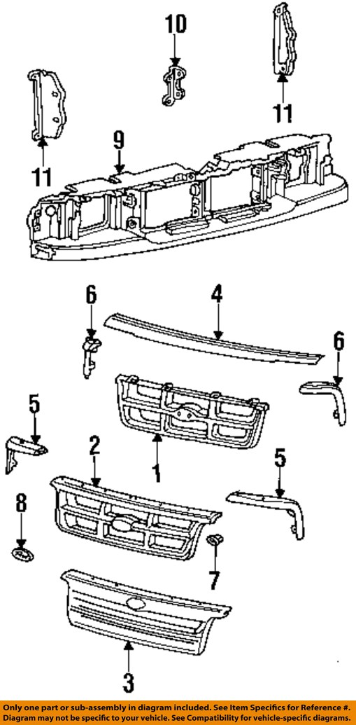 FORD OEM 93-97 Ranger Grille Grill-Header Panel Support
