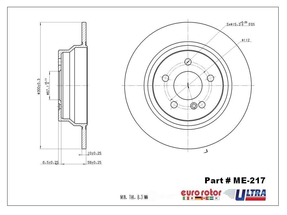 Disc Brake Rotor-E-Coat Premium Rear ME-217 fits 06-07