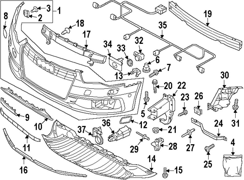 2008 Dodge Grand Caravan Front Bumper Parts Diagram