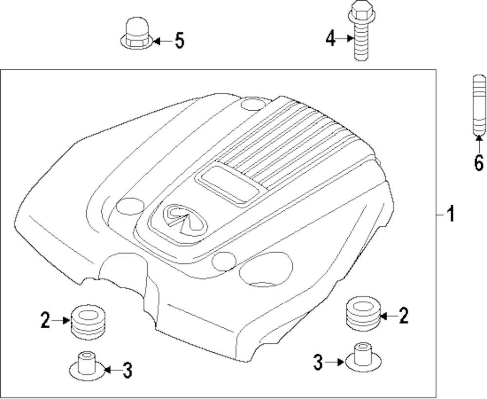 medium resolution of genuine infiniti engine cover nut inf 143724m50a