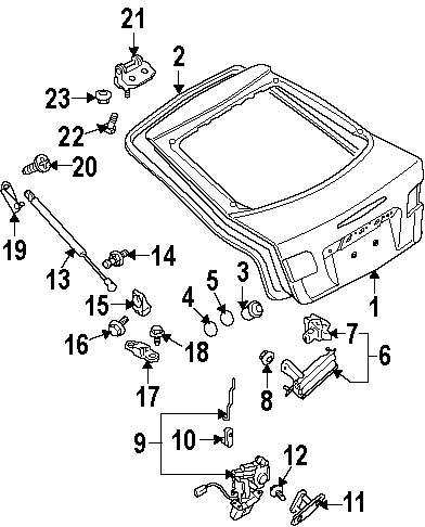 Genuine mazda trunk lid bumper maz gk2c56802